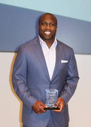 Sports, community and business mixed yet again Nov. 27 during the  Pivotal Plays Awards, held at USA Today's Gannett Center. Honoree London Fletcher of the Washington Redskins.