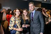 At the Michael Andrews Bespoke opening, Alex Yampolsky of Michael Andrews Bespoke with Bridget Falcone and Andrea Wagner.
