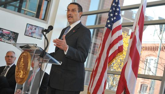 Mayor Vincent Gray unveils his five year economic development strategy during a press conference at Kennedy Recreation Center.