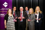 The Greater Reston Chamber of Commerce recognized its ACE winners, also  known as the Awards for Chamber Excellence, during a June 28 luncheon at  the Hyatt Regency Reston. Award winners, from left, Lisa Turkletaub of RyanSharkey, Joel Barajas of Il Fornaio, Matt Brennan of Brennan & Waite, Doug Corbett of Doug Corbett Voice, Cate Fulkerson of the Reston Association and Beth Hughes of M&T Bank.