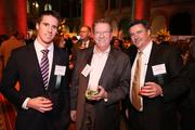 Alex Klemko of Moving Masters Inc., center, with Nick Hinkley, left, and Tom Hinkley, both of Hilldrup Cos., enjoyed the festivities at the Washington Business Journal's Book of Lists celebration.