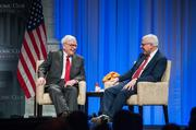 Warren Buffet, left, was interviewed at the Economic Club of Washington's 25th Anniversary dinner June 5 by club President David Rubenstein. Photo by Sam Kittner/The Economic Club of Washington, D.C.