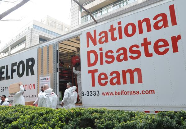 Belfor Property Restoration's National Disaster Team members are on site at the Washington Harbour in Georgetown.