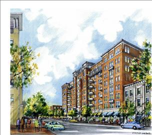 Rendering of the JBG Cos. proposed 8-story residential building at 13th and U streets NW.