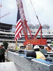 The last girder going into place for Nationals Park in 2007.
