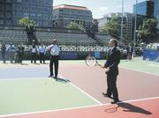Mark Ein of the Venturehouse Group embarked on a new adventure in 2009 when he brought a World TeamTennis franchise to Washington, the aptly named Washington Kastles. Ein lobbed a few over the net with Mayor Fenty.