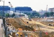 The Renaissance Hotel and Carnegie Museum sit at south end of the Washington Convention Center Construction site as viewed from N Street.