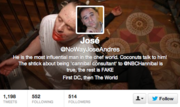 "@NoWayJoseAndres Why yes, we have identified the D.C. celebrity chef as one of our 10 worth following, so it stands to reason there's a fake account having fun with his culinary chops, if in a somewhat gory, not-safe-for-work fashion. To wit: ""FACT: True paella is cooked over a live fire. Better: cooking it over a funeral pyre piled high with Brazilian soccer players. #VivaEspana"""