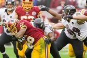Washington Redskins running back Alfred Morris carried the ball 23 times for 122 yards.
