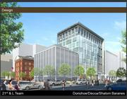 The Donohoe Cos. and Decca Development have proposed a 10-story, 124,000-square-foot office building with 5,000 square feet of ground floor retail for the Stevens Elementary School lot.