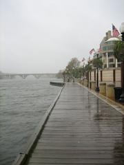 The Potomac is high, but hasn't not crested over the boardwalk at Washington Harbour yet.