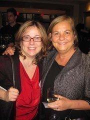 Selva Gunenc of KGO Project Management, left, with Barbara Mullenex of Perkins Eastman at Women & Wine VIII.