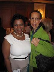 Qiana Randall, left, with Jennifer Eugene, both of Washington Gas, at Women & Wine VIII.
