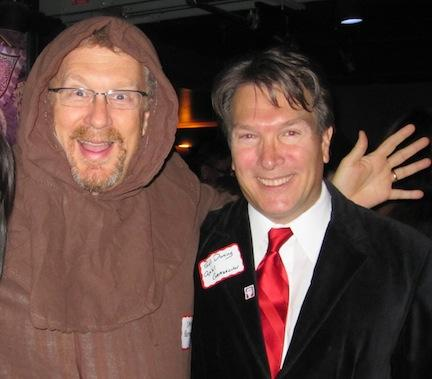 Do you want to work for this man? SmithGifford CEO Matt Smith, left, dressed as part of an AdvertisingWeekDC stunt in honor of the patron saint of advertising, St. Bernardine, with Paul Duning of the Capital Communicator. Smith is hosting a one-day speed-dating-style job fair at his Falls Church advertising agency.
