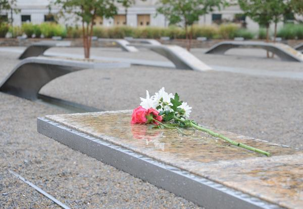 A bench at the Pentagon Memorial commemorates Michele V. Heidenberger, the lead flight attendant on American Airlines Flight 77.