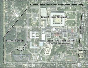 OLD: Satellite image of initial Walter Reed boundaries before the GSA withdrew.