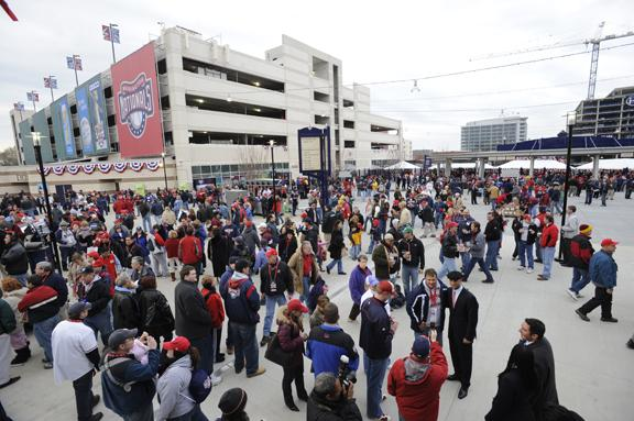 Opening Day in 2008, shortly after Nationals Park opened. Two years later, the Capitol Riverfront is slowly gaining popularity among residents and tenants.