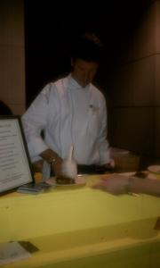 Belga Cafe's Bart Vandalae works on a cotton candy waffle.