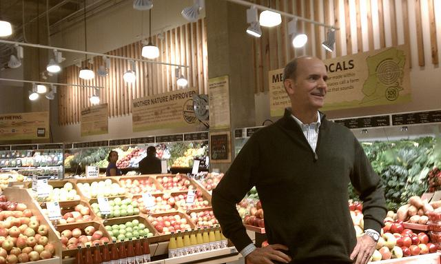 Owner Rick Hood in the new Dawson's Market in Rockville.
