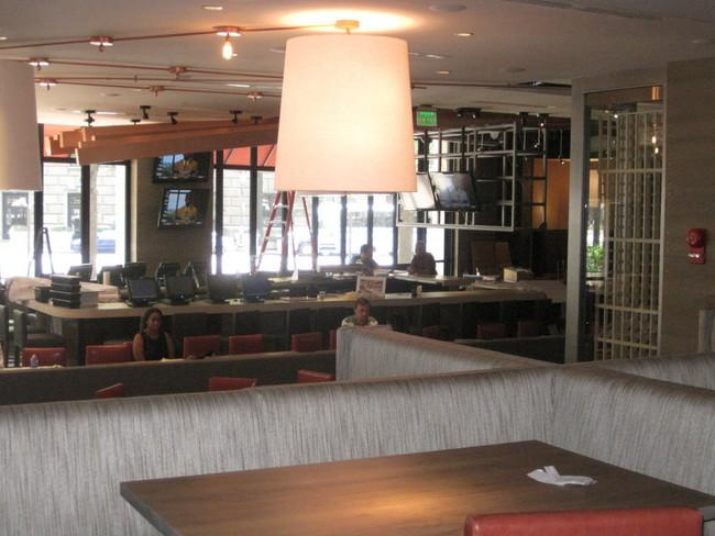 A look back towards the restaurant bar at Del Frisco's Grille.