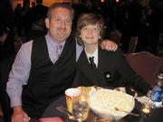 """Father Rob and actor Brendan DeBonis, nominee, """"Liberty Smith"""" at the Helen Hayes Awards gala."""
