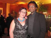 Cristen and Campbell Kennedy, contest winners for theaterWashington's ticket giveaway, at the pre-reception for the Helen Hayes Awards.