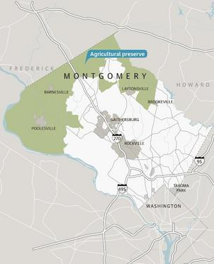 The vast majority of Montgomery County farmlands are located in the Agricultural Reserve, which consumes much of the county's northern and western boundary.