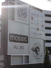 The pylon marking an entrance to the Mosaic development in Merrifield.