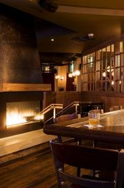 Fireplaces are prominently featured at William Jeffrey's Tavern.