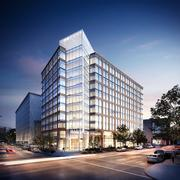 A nighttime rendering of 1200 17th St. NW