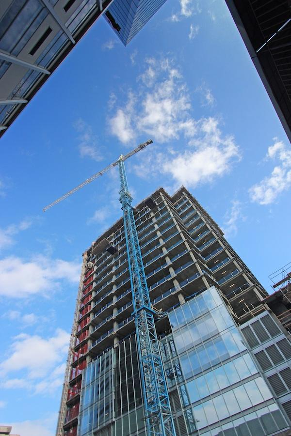 Monday Properties' 1812 N. Moore St. project in Rosslyn is one of the few active projects in Greater Washington, as office construction and renovation activity fell roughly 17 percent year over year, according to Jones Lang LaSalle.