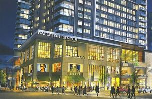 Forest City Washington plans to launch a redevelopment of its Ballston Common Mall, to be rebranded as Ballston Center. The rendering here shows the corner of Wilson Boulevard and Randolph Street, topped with a new 300-unit apartment building.