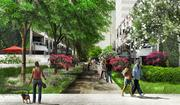 Landscaped courtyards and paths like this one, looking into the community from Eastern Avenue, will be a major part of the Tower Cos.'s planned redevelopment of The Blairs in Silver Spring.