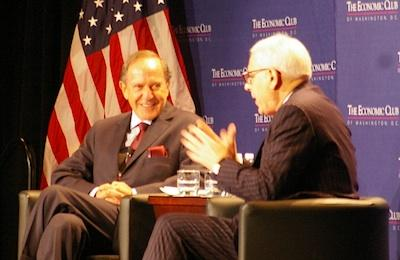 Boston Properties Inc. CEO Mort Zuckerman, left, talked with The Carlyle Group CEO David Rubenstein at the Economic Club of Washington's February meeting Friday.