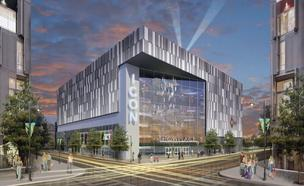 A rendering of the Showplace Icon movie theater proposed for Forest City Washington's latest development in the burgeoning Capitol Riverfront neighborhood.