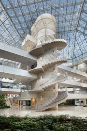 This spiral staircase is part of the interior of Intelsat S.A.'s U.S. headquarters at 4000 Connecticut Ave. NW.