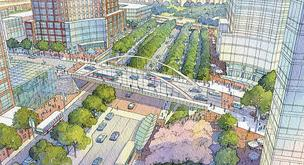 A rendering from 2009 depicting how the area surrounding the Landmark Mall might look if converted into a town center format.