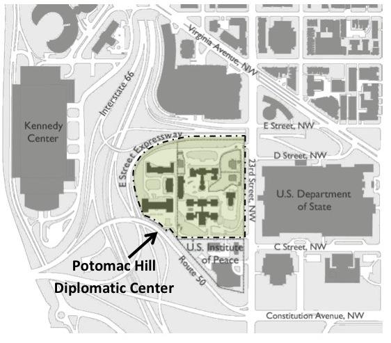 The State Department wants to use the 11.8-acre Navy Hill campus to consolidate workers from several other locations in the region.