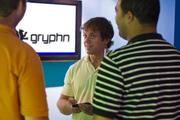 Aaron Huttner, chief technology officer of Gryphn Corp., at the company's one-year anniversary party.