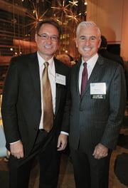 """The Catalogue for Philanthropy: Greater Washington celebrated its  10-year anniversary with an """"Inspiration to Action"""" event on Dec. 3 at  Sidney Harman Hall in the District. The event celebrated the 74  nonprofits selected by reviewers for the 2012-13 Catalogue. George Schindler of CGI, left, and Don Neal of 360 Live Media."""