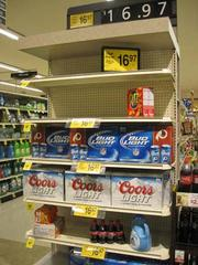 """Shoppers at Safeway could still find the """"necessities"""" at this store on Wilson Boulevard in Arlington on Sunday. Most stores were restocked late Sunday night or early Monday in anticipation of Hurricane Sandy."""