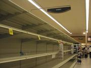 Most grocery stores in the Washington region restocked shelves Monday morning, but bottled water was in short supply at this Safeway on Wilson Boulevard in Arlington Sunday.