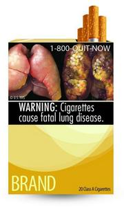 The Food and Drug Administration's new smoking warning label featuring diseased lungs.