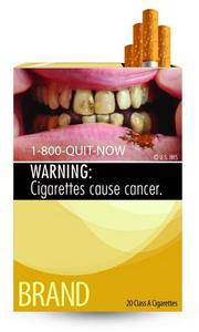 The warning labels will be on all U.S. cigarette packs by the fall of 2012.