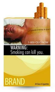 The Food and Drug Administration's new smoking warning label featuring the corpse of a smoker.