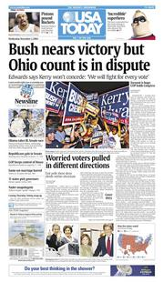 Nov. 3, 2004: Bush nears victory in 2004 election, but Ohio count is disputed.