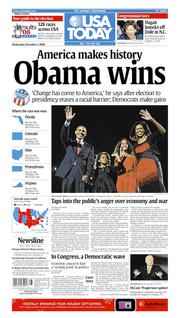 Nov. 5, 2008: Barack Obama becomes the first African-American president.