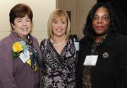 From left, honoree Candace Duncan of KPMG LLP caught up with Denise Hart of O2 Lab and Yvonne Bass of Mass Mutual.