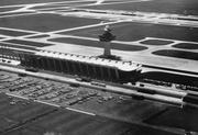 An aerial view of Dulles International Airport.