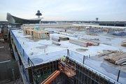 Parking lot construction at Dulles International Airport.